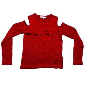 DKNY Cold Shoulder Knit Ruffle Sweater Red M 8-10